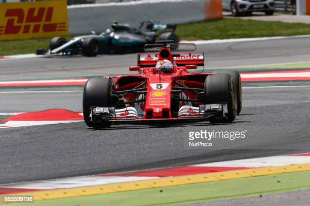 Sebastian Vettel team Ferrari and Valtteri Bottas team Mercedes during the Formula One GP of Spain 2017 celebrated at Circuit Barcelona Catalunuya on...