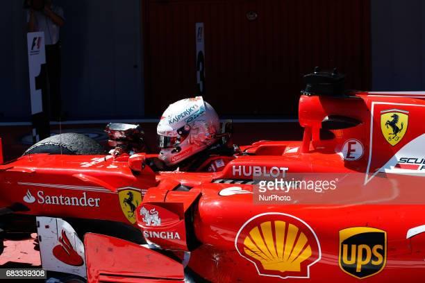 Sebastian Vettel team Ferrari celebrates the second place during the Formula One GP of Spain 2017 celebrated at Circuit Barcelona Catalunuya on 14th...