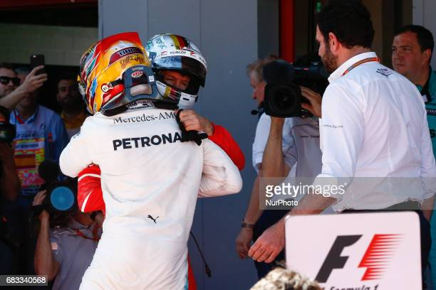 Sebastian Vettel team Ferrari congratulates Lewis Hamilton team Mercedes on victory during the Formula One GP of Spain 2017 celebrated at Circuit...