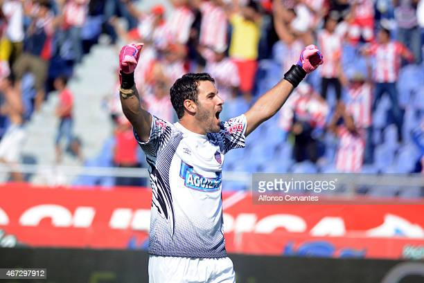 Sebastian Viera goalkeeper of Junior celebrates during a match between Junior and Millonarios as part of 11th round of Liga Aguila I 2015 at...