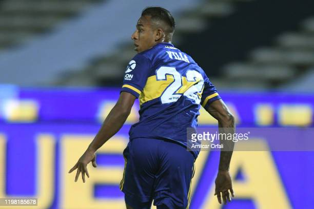 Sebastian Villa of Boca Juniors celebrates after scoring the first goal of his team during a match between Talleres and Boca Juniors as part of...
