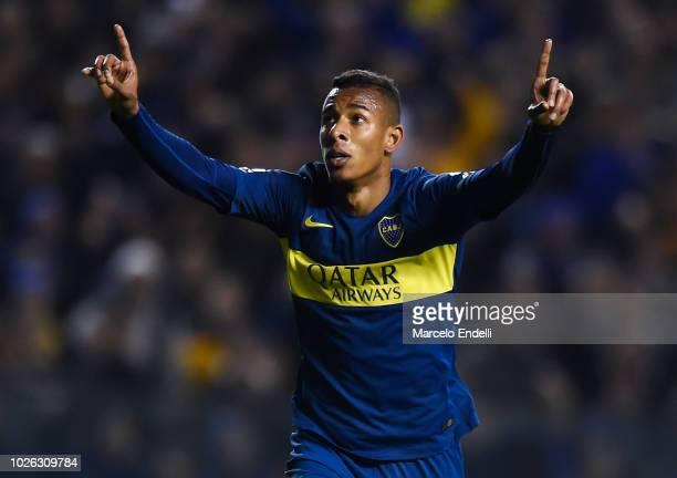 Sebastian Villa of Boca Juniors celebrates after scoring the third goal of his team during a match between Boca Juniors and Velez as part of...