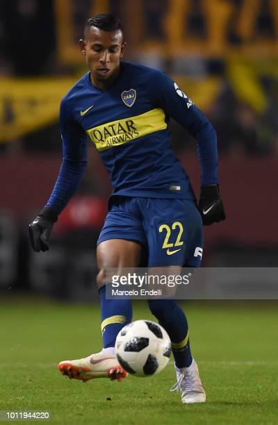 Sebastian Villa of Boca Juniors kicks the ball during a match between Boca Juniors and Alvarado as part of Round of 64 of Copa Argentina 2018 on...
