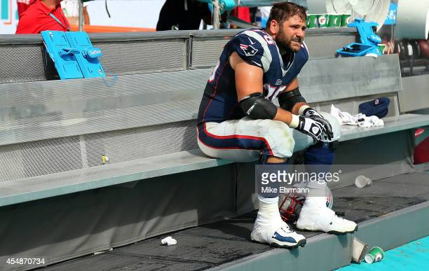 Sebastian Vollmer of the New England Patriots looks on during a game against the Miami Dolphins at Sun Life Stadium on September 7 2014 in Miami...