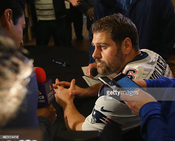 Sebastian Vollmer of the New England Patriots speaks to the media during the New England Patriots Super Bowl XLIX Media Availability on January 28...