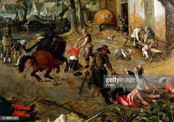Sebastian Vrancx Flemish Baroque painter Pillaging a village Detail Dutch War of Independence 17th century Private Collection