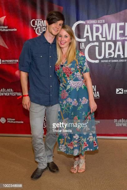 Sebastian Wagner and his girlfriend Kathrin Röttgen attend the 'Carmen la Cubana' Musical premiere on July 19 2018 in Cologne Germany Kristina Yantsen
