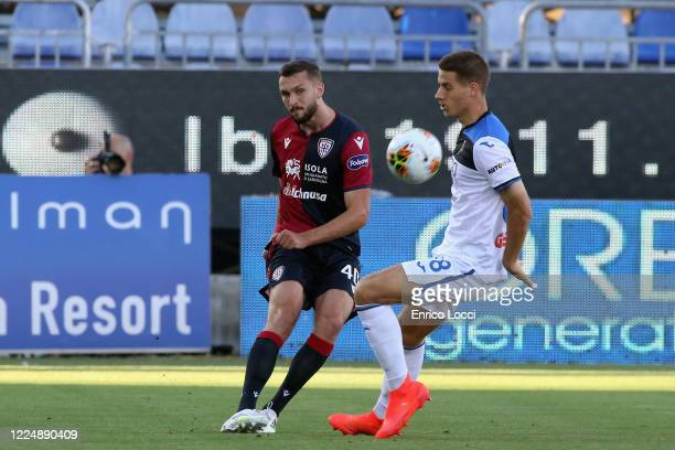 Sebastian Walukiewicz of Cagliari in action during the Serie A match between Cagliari Calcio and Atalanta BC at Sardegna Arena on July 5 2020 in...
