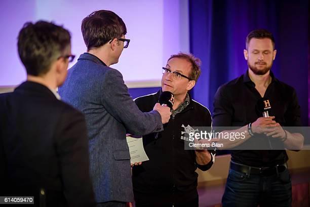 Sebastian Wilhelmi Ralph Caspers Wigald Boning Fritz Meinecke attend the preview screening of the new series 'Wigald Fritz Die Geschichtsjaeger' by...