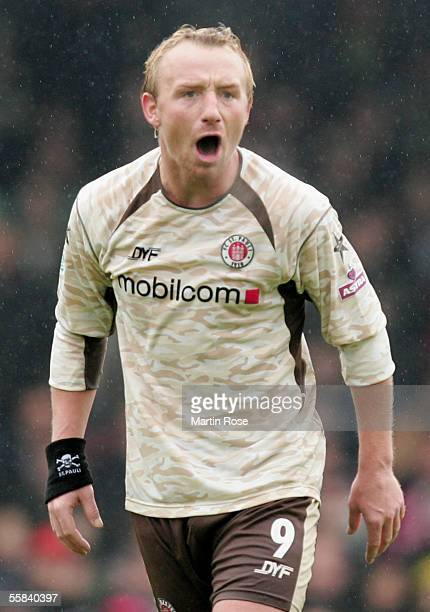 Sebastian Wojcik of StPauli reacts during the match of the Third Bundesliga between FC St Pauli and Carl Zeiss Jena at the Millerntor Stadium on...