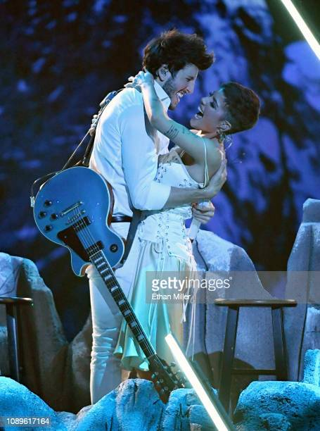 Sebastian Yatra and Halsey perform during the 19th annual Latin GRAMMY Awards at MGM Grand Garden Arena on November 15 2018 in Las Vegas Nevada