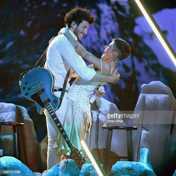 Sebastian Yatra and Halsey perform onstage during the 19th annual Latin GRAMMY Awards at MGM Grand Garden Arena on November 15 2018 in Las Vegas...