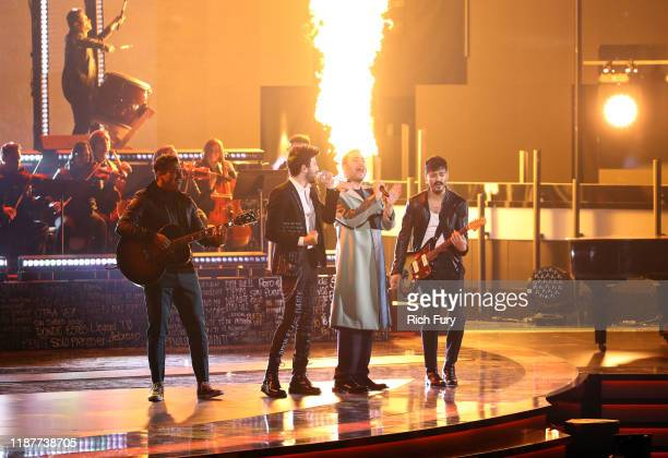 Sebastian Yatra and Reik perform onstage during the 20th annual Latin GRAMMY Awards at MGM Grand Garden Arena on November 14 2019 in Las Vegas Nevada