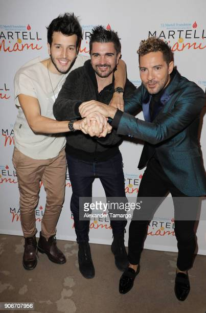 Sebastian Yatra Juanes and David Bisbal are seen at the TJ Martell Foundation Martell In Miami Charity Luncheon during NATPE 2018 at the Eden Roc...
