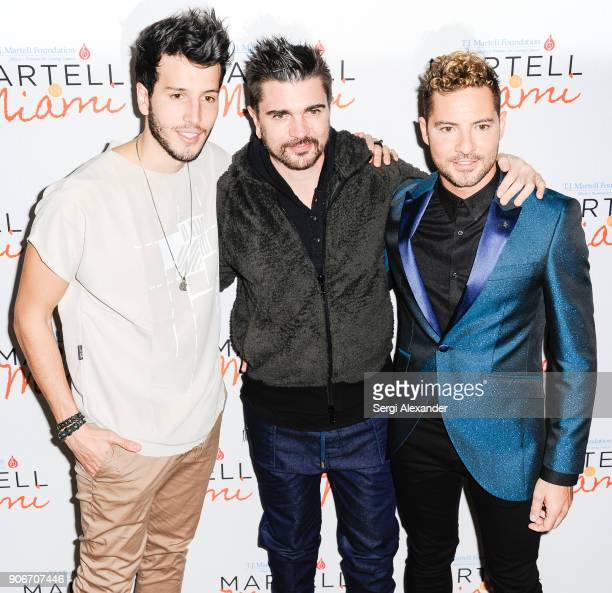 Sebastian Yatra Juanes and David Bisbal attend the TJ Martell Foundation for Cancer Research 2nd annual Martell in Miami charity luncheon at Eden Roc...