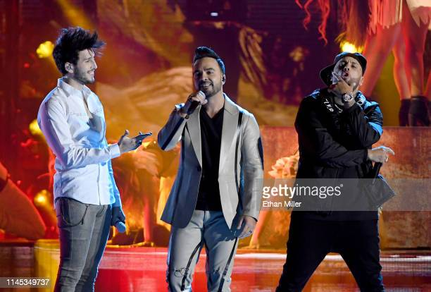 Sebastian Yatra, Luis Fonsi and Nicky Jam perform during the 2019 Billboard Latin Music Awards at the Mandalay Bay Events Center on April 25, 2019 in...