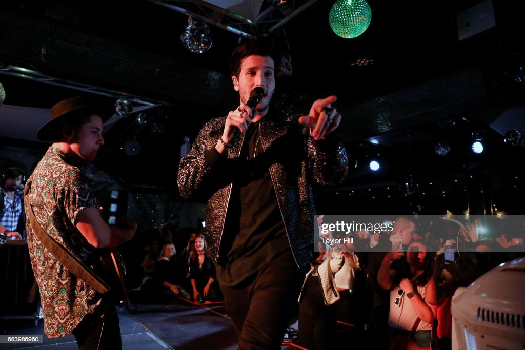 Sebastian Yatra performs during the 2017 Spanish Broadcasting System Upfront at Copacabana Club - Times Square on May 16, 2017 in New York City.