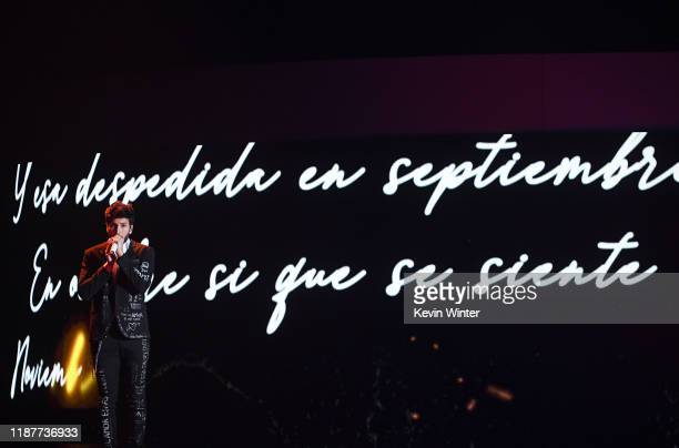 Sebastian Yatra performs onstage during the 20th annual Latin GRAMMY Awards at MGM Grand Garden Arena on November 14 2019 in Las Vegas Nevada