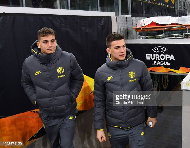 Sebastiano Esposito and Filip Stankovic of FC Internazionale look on before the UEFA Europa League round of 32 second leg match between FC...