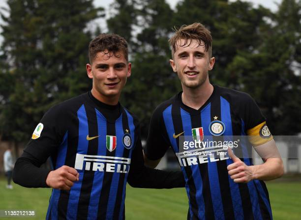 Sebastiano Esposito and Ryan Nolan of FC Internazionale celebrate after the end of the Serie A Primavera match between FC Internazionale U19 and AC...