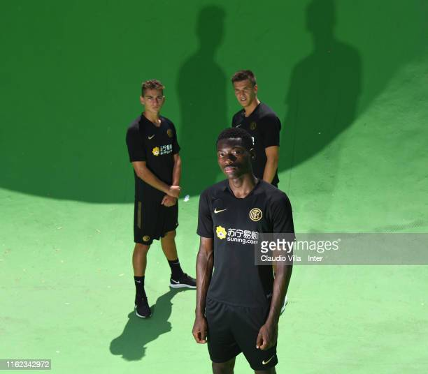 Sebastiano Esposito Lucien Agoume and Filip Stankovic of FC Internazionale pose for a photo before a FC Internazionale training session on July 12...