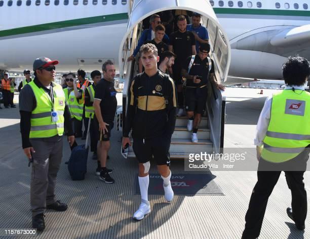Sebastiano Esposito of FC Internazionale arrives at Macau Airport on July 26 2019 in Macau