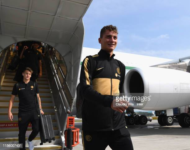 Sebastiano Esposito of FC Internazionale arrives at Shanghai Airport on July 17 2019 in Singapore Singapore