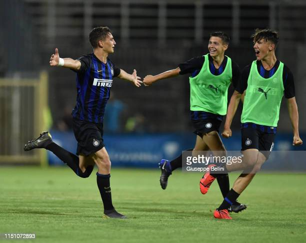 Sebastiano Esposito of FC Internazionale celebrates after scoring goal 20 during the U17 league final match between FC Internazionale and As Roma at...