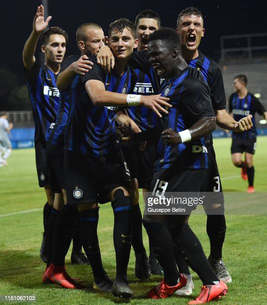 Sebastiano Esposito of FC Internazionale celebrates after scoring goal 30 during the U17 league final match between FC Internazionale and As Roma at...