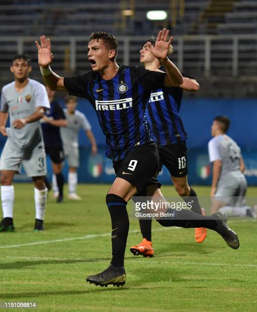 Sebastiano Esposito of FC Internazionale celebrates after scoring opening goal during the U17 league final match between FC Internazionale and As...