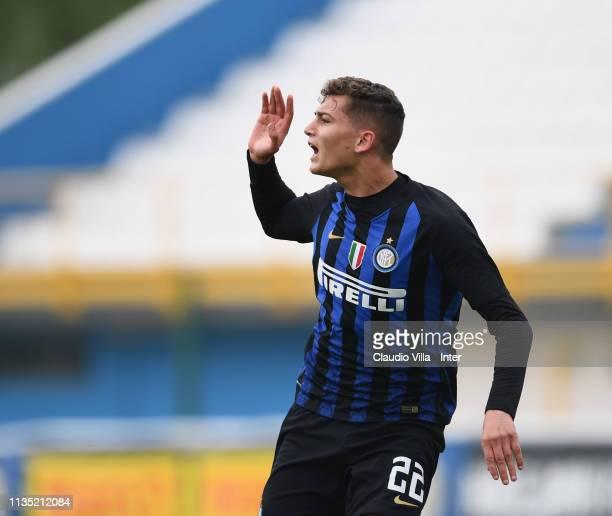 Sebastiano Esposito of FC Internazionale celebrates after scoring the fourth goal during the Serie A Primavera match between FC Internazionale U19...