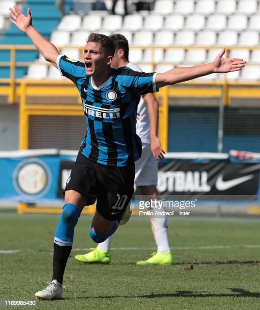 Sebastiano Esposito of FC Internazionale celebrates after scoring the opening goal during the Serie A Primavera match between FC Internazionale U19...