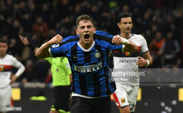 Sebastiano Esposito of FC Internazionale celebrates after scoring the thrid goal of his team during the Serie A match between FC Internazionale and...