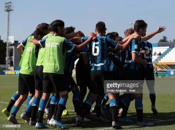 Sebastiano Esposito of FC Internazionale celebrates with his teammates after scoring the opening goal during the Serie A Primavera match between FC...