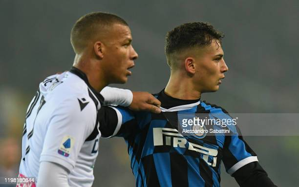 Sebastiano Esposito of FC Internazionale during the Serie A match between Udinese Calcio and FC Internazionale at Stadio Friuli on February 2 2020 in...