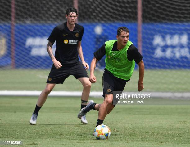 Sebastiano Esposito of FC Internazionale in action during a FC Internazionale training session on July 23 2019 in Nanjing
