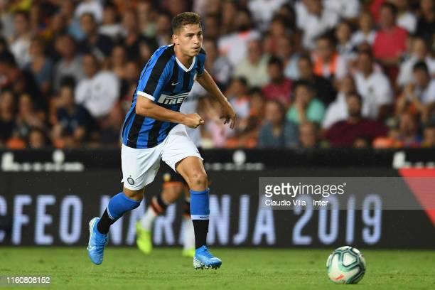 Sebastiano Esposito of FC Internazionale in action during a friendly match between Valencia CF and FC Internazionale at Estadio Mestalla on August...