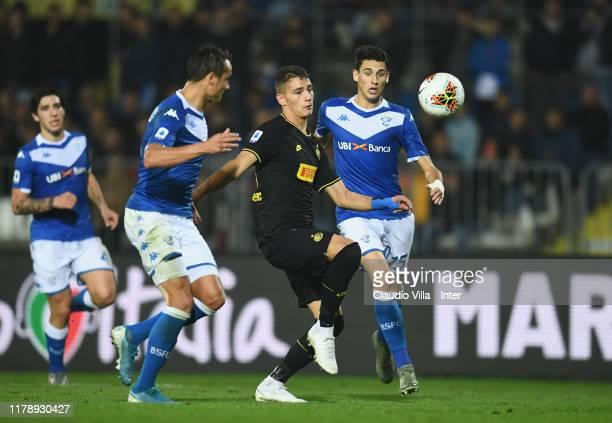 Sebastiano Esposito of FC Internazionale in action during the Serie A match between Brescia Calcio and FC Internazionale at Stadio Mario Rigamonti on...