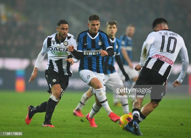 Sebastiano Esposito of FC Internazionale in action during the Serie A match between Udinese Calcio and FC Internazionale at Stadio Friuli on February...