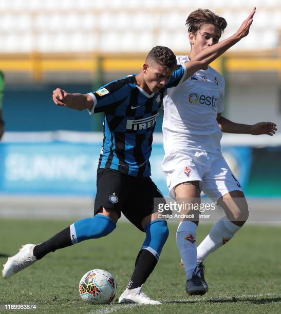Sebastiano Esposito of FC Internazionale kicks the ball during the Serie A Primavera match between FC Internazionale U19 and ACF Fiorentina U19 at...