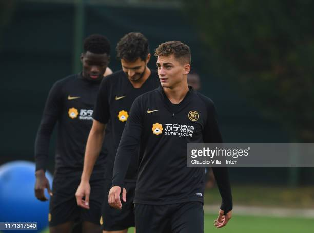 Sebastiano Esposito of FC Internazionale looks on during FC Internazionale training session at Appiano Gentile on September 26 2019 in Como Italy