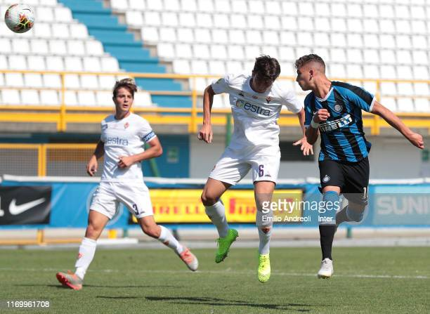 Sebastiano Esposito of FC Internazionale misses a chance of a goal during the Serie A Primavera match between FC Internazionale U19 and ACF...