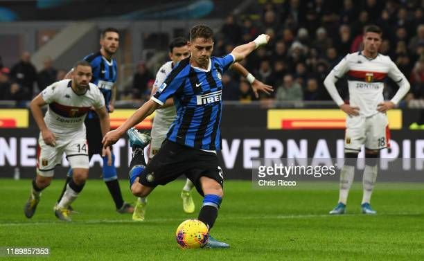 Sebastiano Esposito of FC Internazionale scores a penalty during the Serie A match between FC Internazionale and Genoa CFC at Stadio Giuseppe Meazza...