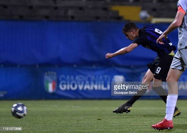 Sebastiano Esposito of FC Internazionale scores goal 20 during the U17 league final match between FC Internazionale and As Roma at Stadio Bruno...
