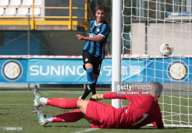 Sebastiano Esposito of FC Internazionale scores the opening goal during the Serie A Primavera match between FC Internazionale U19 and ACF Fiorentina...