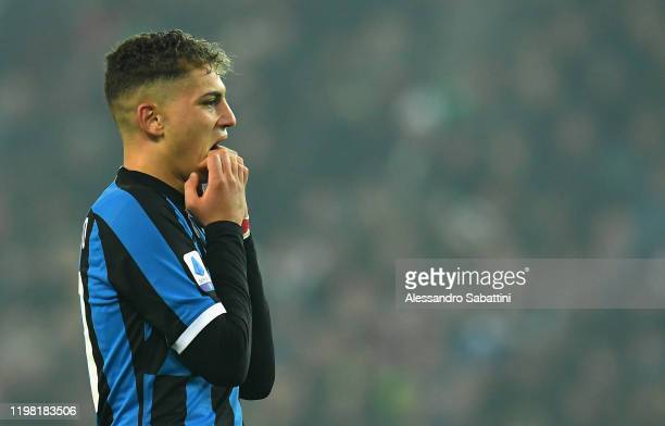 Sebastiano Esposito of FC Internazionale shows his dejection during the Serie A match between Udinese Calcio and FC Internazionale at Stadio Friuli...