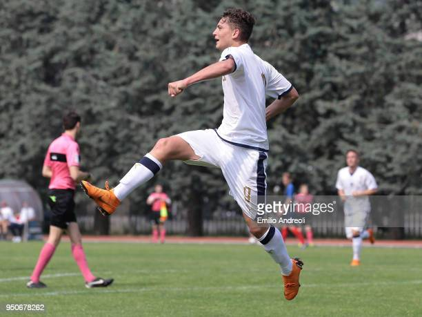 Sebastiano Esposito of Italy celebrates his goal during the U16 International Friendly match between Italy and France on April 24 2018 in Rezzato...