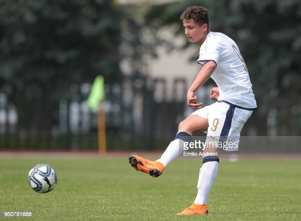 Sebastiano Esposito of Italy in action during the U16 International Friendly match between Italy and France on April 24 2018 in Rezzato near Brescia...