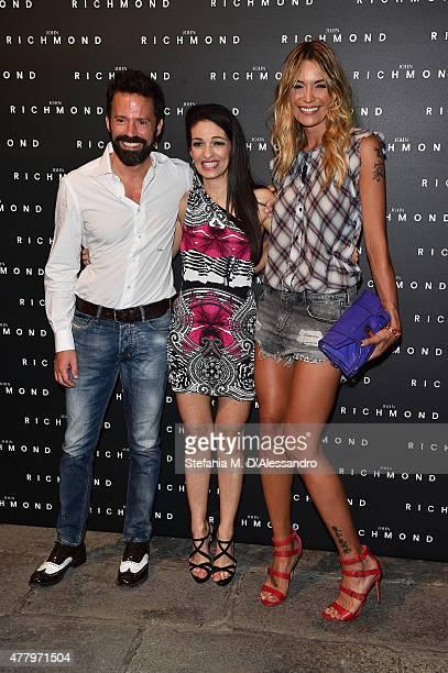 Sebastiano Lombardi Alessandra Moschillo and Elenoire Casalegno attend the John Richmond show during the Milan Men's Fashion Week Spring/Summer 2016...