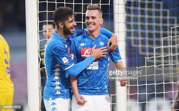 Sebastiano Luperto and Arkadiusz Milik of SSC Napoli celebrate the 30 goal scored by Arkadiusz Milik during the Serie A match between SSC Napoli and...